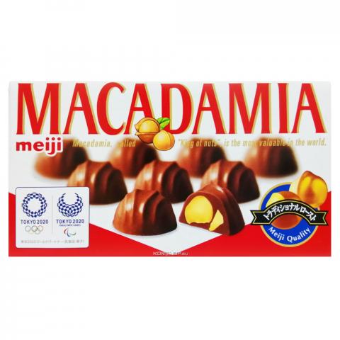 Орех макадамия в молочном шоколаде Meiji коробка 9 шт.