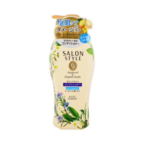 """Разглаживающий кондиционер с маслом арганы для поврежденных тусклых волос KOSE COSMEPORT """"Salon Style"""", растительно-цветочный аромат"""