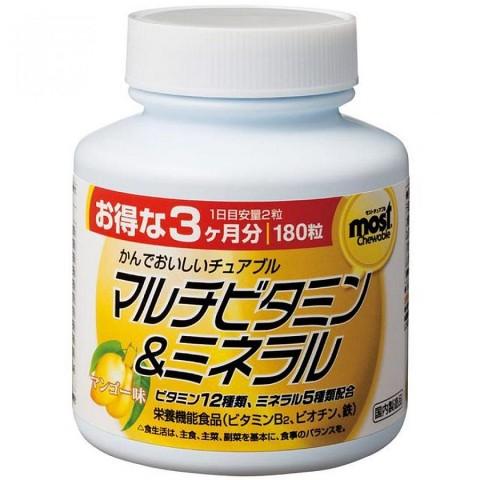 """""""Orihiro"""" Мультивитамины и минералы, таблетки жевательные со вкусом манго 180 шт"""