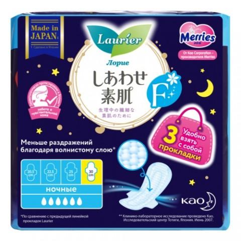 Laurier F Женские ночные тонкие гигиенические прокладки с крылышками 30 см 3 шт