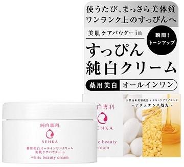 """Увлажняющий крем """"Все-в-одном"""" для лица против пигментных пятен с маслом зародышей риса и медом SHISEIDO """"Pure White Senka"""""""